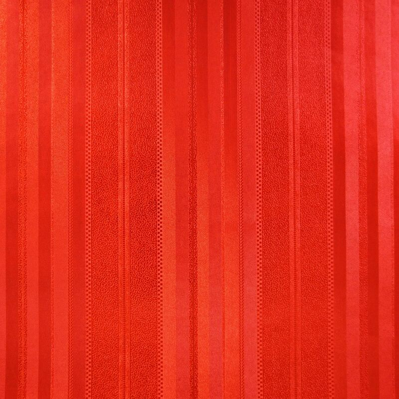Image of Foil Effect Stripe Wallpaper Metallic Red Oriental Textured Traditional