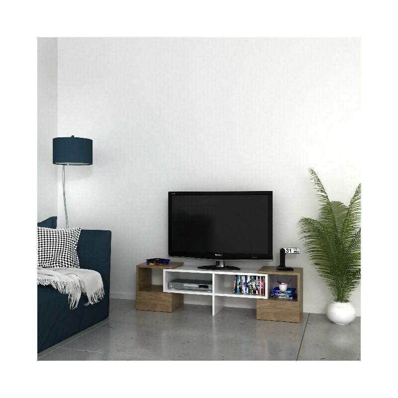 Homemania - Fold TV-Schrank - Modern - mit Einlegeboeden - vom Wohnzimmer - Weiss, Nussbaum aus Holz, PVC, 141,2 x 29,7 x 38,8 cm
