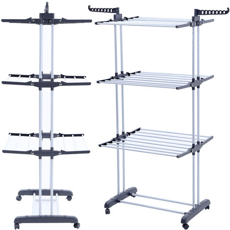 Foldable Airer, Laundry Drying Rack, 3 shelves, White, with wings