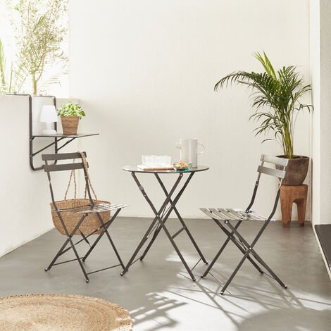 Foldable anthracite grey Emilia bistro garden set, Ø60cm round table with two foldable chairs, thermo-lacquered steel