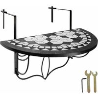 Foldable Balcony Table Mosaic - folding garden table, mosaic garden table, small patio table