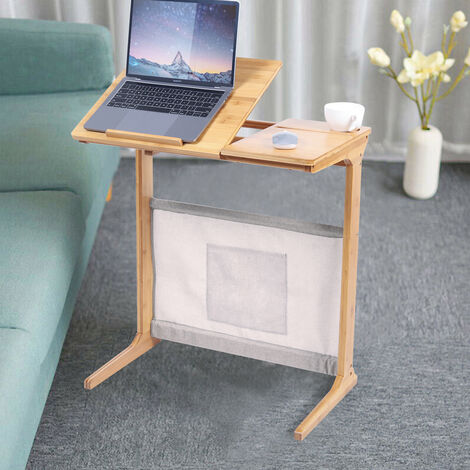 Foldable Bamboo Laptop Computer Desk Bed Sofa Tray Stand Table with Storage Bag