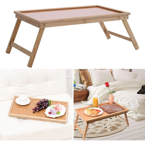 Foldable Bamboo Tray Table Study Breakfast Serving Laptop