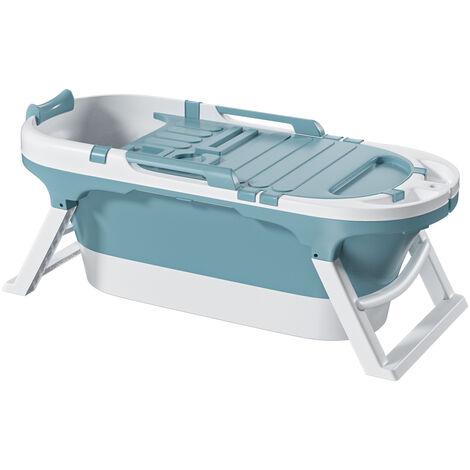 Foldable Bathtub 140x63x57.4cm Blue wiht Cover