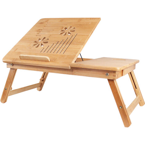 Foldable Bed Tray, Portable Notebook Table, Adjustable desk with large ventilation, Material: Bamboo