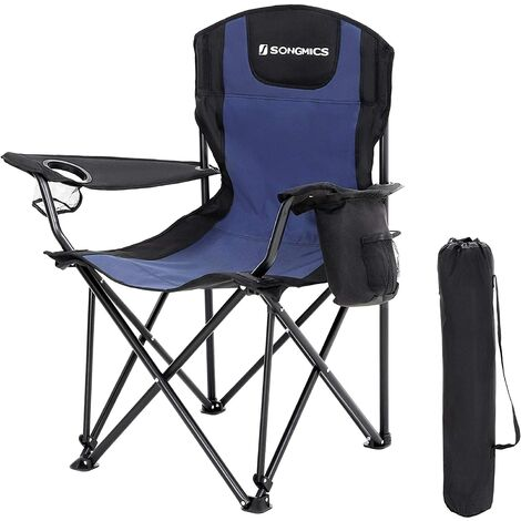 Foldable Camping Chair, with High Backrest, with Glass Holder and Thermal Pocket, Comfortable, Durable Structure, Max. Load Capacity 250 kg, Outdoor Chair, Blue and Black/Red and Black