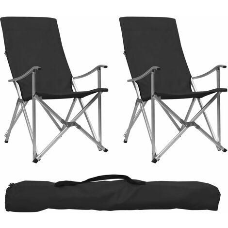 Foldable Camping Chairs 2 pcs Black