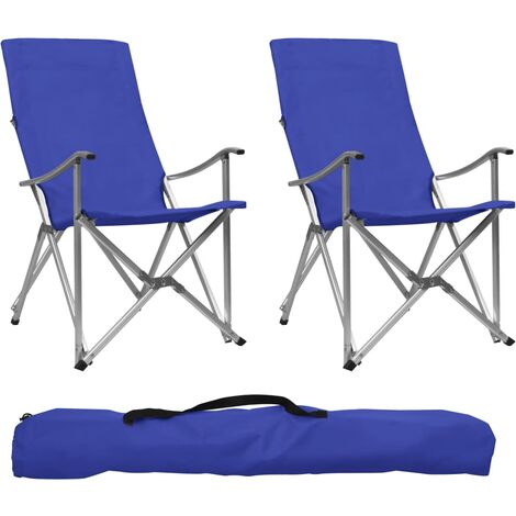 Foldable Camping Chairs 2 pcs Blue