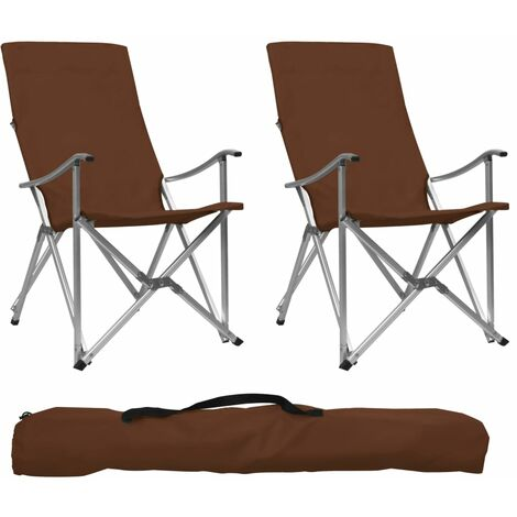 Foldable Camping Chairs 2 pcs Brown