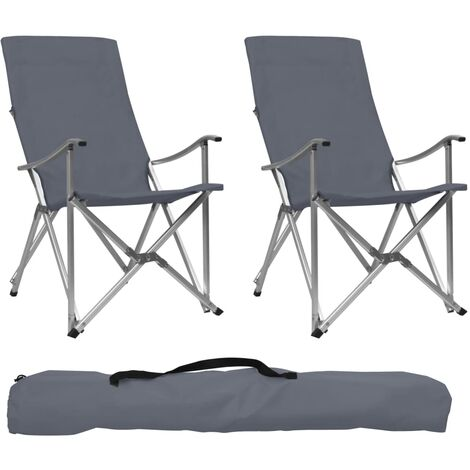 Foldable Camping Chairs 2 pcs Grey