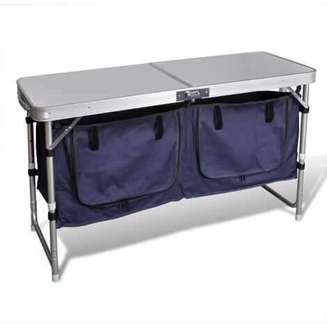 Foldable Camping Cupboard with Aluminium Frame - Silver