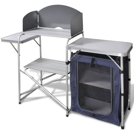 Foldable Camping Kitchen Unit with Windshield Aluminium - Silver