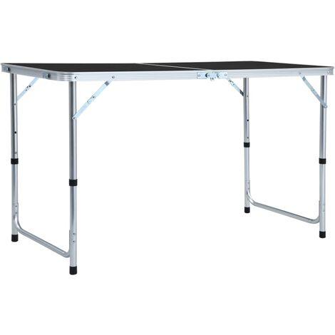 Foldable Camping Table Grey Aluminium 120x60 cm