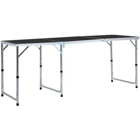 Foldable Camping Table Grey Aluminium 180x60 cm