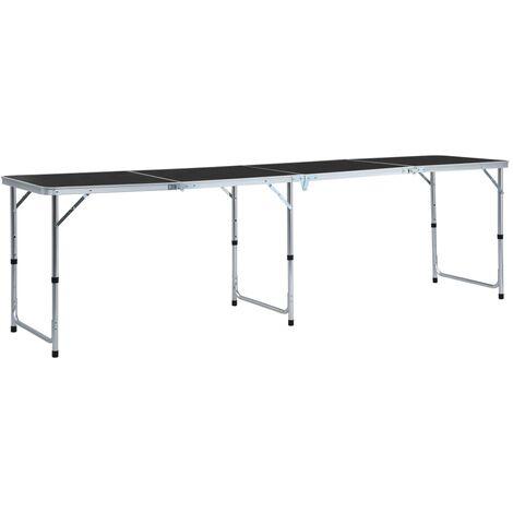 Foldable Camping Table Grey Aluminium 240x60 cm