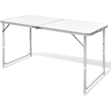 Foldable Camping Table Height Adjustable Aluminium 120 x 60 cm