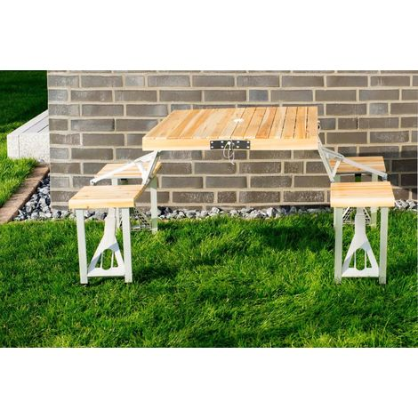 Foldable Camping Table Made of Aluminum with 2 Benches 85,5 x 72,5 x 67