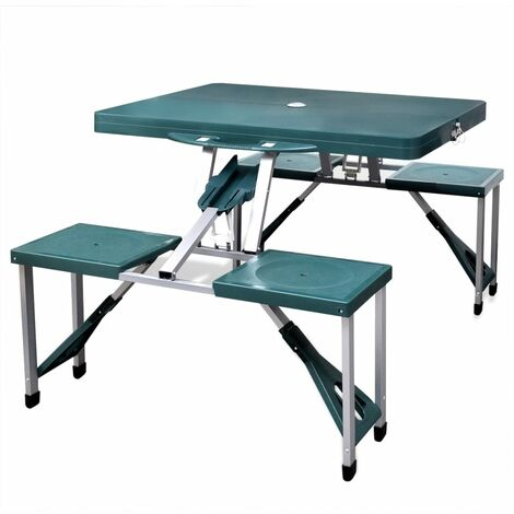 Foldable Camping Table Set with 4 Stools Aluminium Extra Outdoor Folding Table Folding Camping Table Portable Camping Table Light Green/Grey
