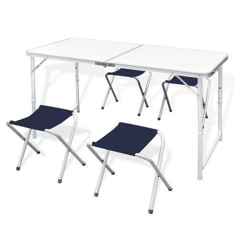 Foldable Camping Table Set with 4 Stools Height Adjustable 120x60cm