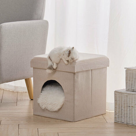 Foldable Cat House Cat Bed Cat Litter Box Pet House Bench Stool with Cushions