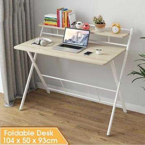 Foldable Computer Desk 104*50*93cm White Folding Laptop Desk with Storage Shelf