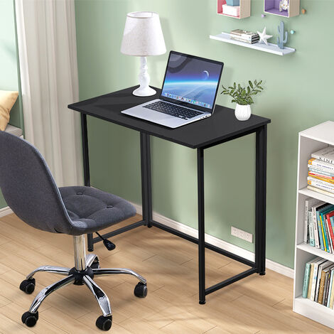 Foldable Computer Desk Home Study Gaming Writing Table Space Saving Workstation,Rustic Brown