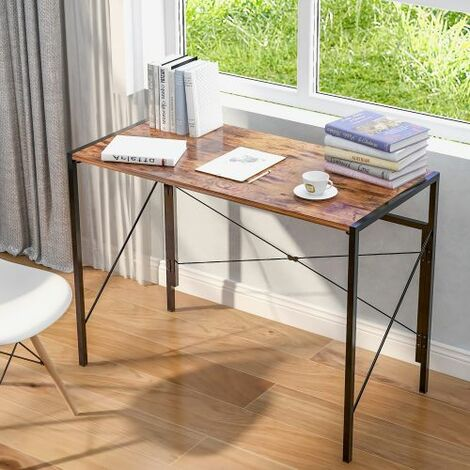 Foldable Computer Desk Laptop table Office Desk Study Desk Simple Desk for Home Office Industrial Style, Rustic Brown