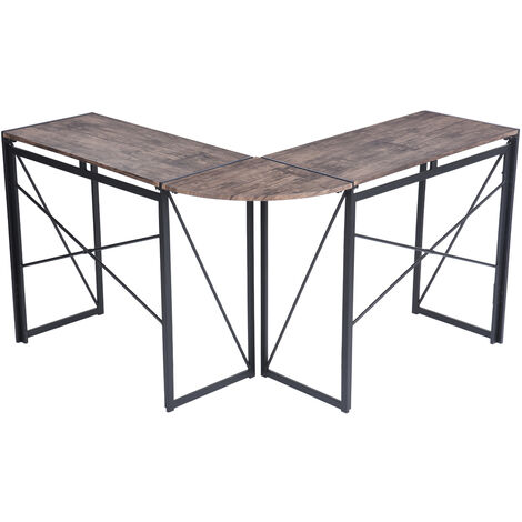 Foldable Corner Computer Desk L-Shaped Wood Metal PC Laptop Study Gaming Table Workstation for Home Office (Brown)