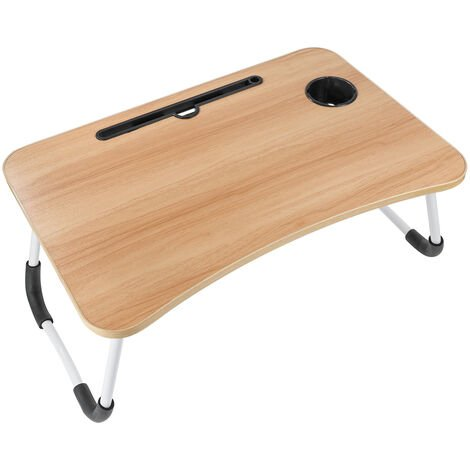 Foldable Desk Laptop Stand Bed Tray Table W/ Tablet Slot Cup Holder 60X40X28cm