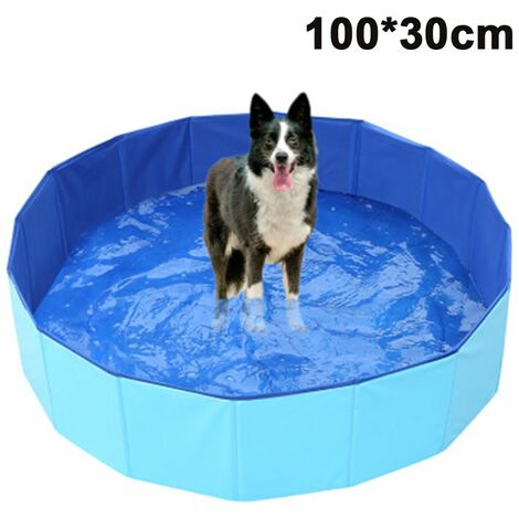 Foldable Dog Pet Bath Pool Collapsible Dog Pet Pool Bathing Tub Kiddie Pool for Dogs Cats and Kids, blue, 100x30cm