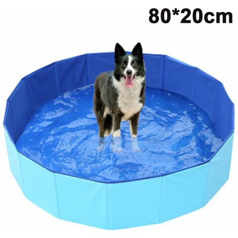 Foldable Dog Pet Bath Pool Collapsible Dog Pet Pool Bathing Tub Kiddie Pool for Dogs Cats and Kids, blue, 80x20cm