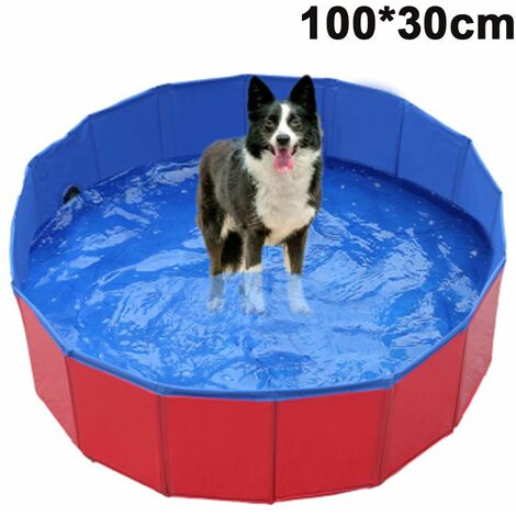 Foldable Dog Pet Bath Pool Collapsible Dog Pet Pool Bathing Tub Kiddie Pool for Dogs Cats and Kids, red, 100x30cm