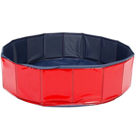 Foldable Dog Swimming Pool Bath Pet Kid Outdoor Indoor red 80x20cm