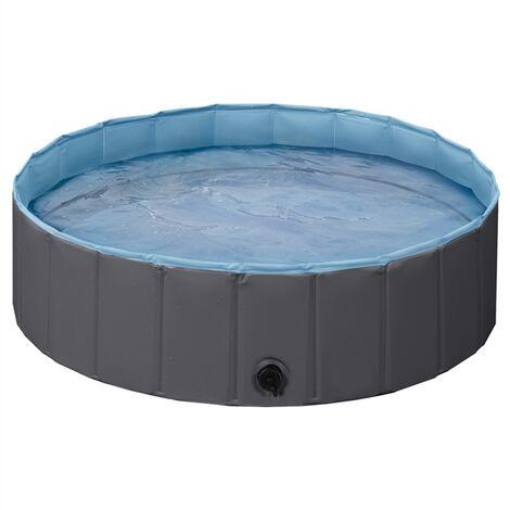Foldable Dog Swimming Pool Pet Puppy Bath Tub Shower Indoor Outdoor Dia 100cm-Black
