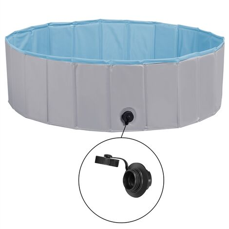 Foldable Dog Swimming Pool Pet Puppy Bath Tub Shower Indoor Outdoor Dia 100cm-Gray