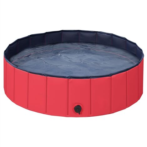 Foldable Dog Swimming Pool Pet Puppy Bath Tub Shower Indoor Outdoor Dia 100cm-Red