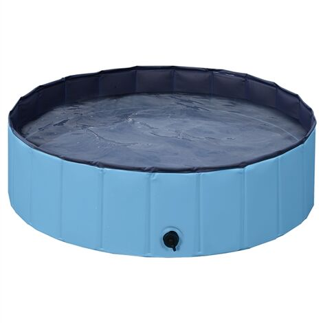 Foldable Dog Swimming Pool Pet Puppy Bath Tub Shower Indoor Outdoor Dia 100cm£¬Blue