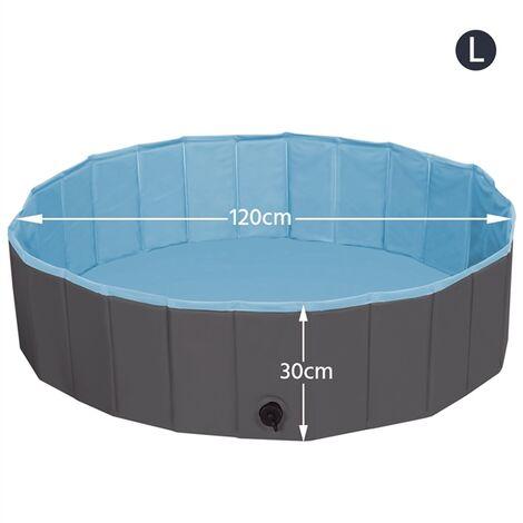 Foldable Dog Swimming Pool Pet Puppy Bath Tub Shower Indoor Outdoor Dia 120cm-Black