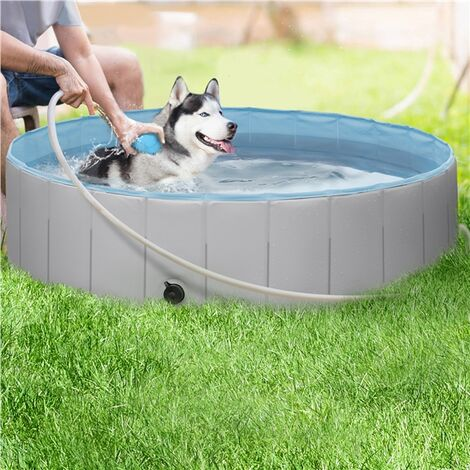 Foldable Dog Swimming Pool Pet Puppy Bath Tub Shower Indoor Outdoor Dia 120cm-Gray