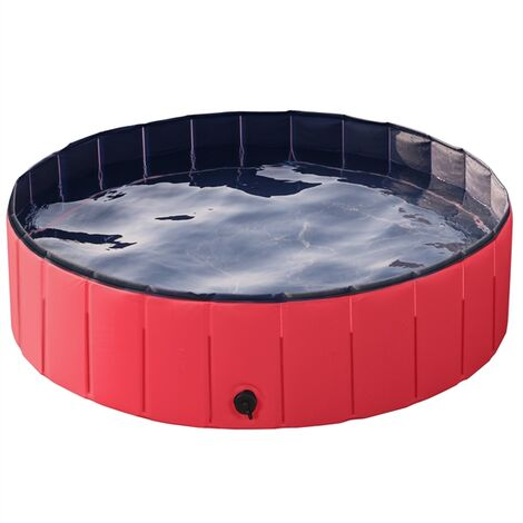 Foldable Dog Swimming Pool Pet Puppy Bath Tub Shower Indoor Outdoor Dia 120cm-Red