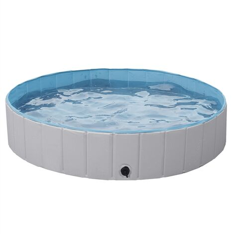 Foldable Dog Swimming Pool Pet Puppy Bath Tub Shower Indoor Outdoor Dia 140cm-Gray