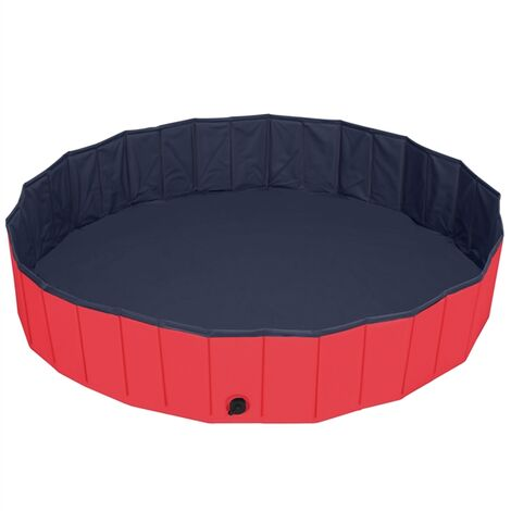 Foldable Dog Swimming Pool Pet Puppy Bath Tub Shower Indoor Outdoor Dia 160cm-Red