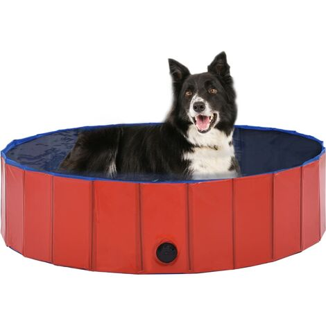 Foldable Dog Swimming Pool Red 120x30 cm PVC