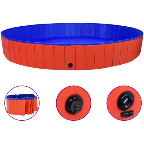 Foldable Dog Swimming Pool Red 300x40 cm PVC