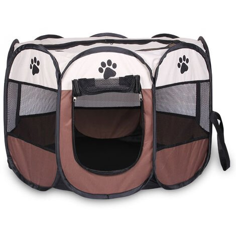 Foldable Fabric Pet Play Pen Puppy Dog Cat Rabbit Guinea Pig Run Fence Cage Tent Brown
