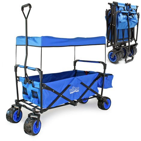 Foldable Handcart with Canopy, Big Loading Space & Compartments for Off-Road Use