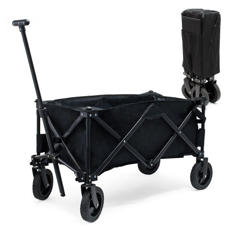 Foldable Handcart with Cover, Plastic Tyres and Handle for Off-Road Use