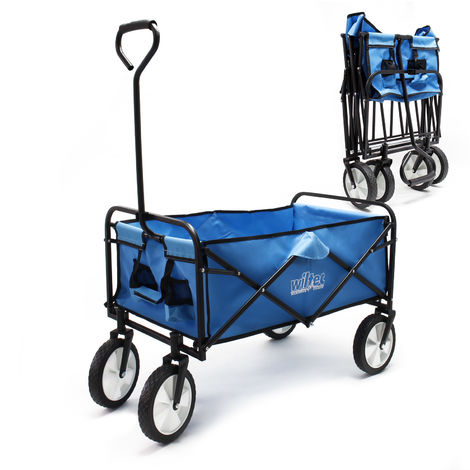 Foldable Handcart with Tyres and Handle for Off-Road Use, blue, loading space 80x46cm