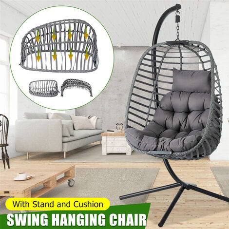 """main image of """"Foldable Hanging Egg Shaped Chair Rattan Swing Chair w/Cushion Garden Chair"""""""