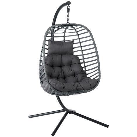 "main image of ""Foldable Hanging Swing Egg Chair W/ Cushion Garden Rattan Wicker Hammock Chair Detachable"""
